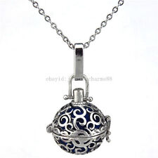 V167 Vintage Copper 20mm Circle Locket Necklace Stone Bead Cage Stainless Chain
