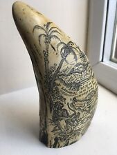 Antigue Faux Scrimshaw Whale/Walrus Tooth