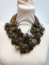 Butler and Wilson Semi Precious  5 Flower Tiger Stripe Necklace New