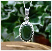 "Green Jade Silver decorative Pendant Necklace Oval design Sterling silver 18"""