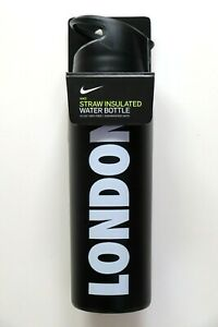 NIKE HYPERCHARGE STRAW INSULATED BLACK LONDON TRAINING METAL WATER BOTTLE 710ML