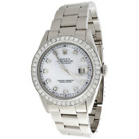 Mens Rolex 36mm DateJust Diamond Watch Oyster Steel Band White MOP Dial 2 CT.