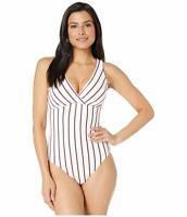 **Lauren Ralph Lauren Dylan Stripe Swimsuit, Women's Size 8, White