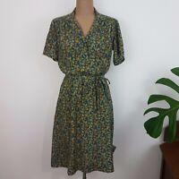 Vintage 90s Floral Shift Dress SZ 14? Navy Handmade Tie Belt Collar