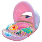 Inflatable Baby Swim Seat Float Boat  Kids Swimming Ring Pool w/ Hood OSWI992