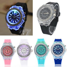 Geneva Modern Wrist Watches Acrylic Case Rubber Band with LED Night Light UK