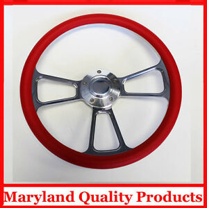 """1957-1968 Chevy Impala Biscayne Bel Air Red and Billet Steering Wheel 14"""""""