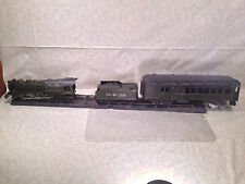 Antique Handmade Steam Locomotive Tender and Passenger Car with Piece of Track