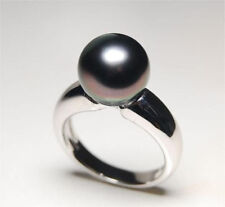 stunning natural round AAA 10-11mm tahitian black pearl ring 8#