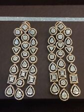 9.67 Cts Round Baguette Cut Natural Diamonds Chandelier Earrings In 14Carat Gold