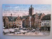 Ansichtskarte Darmstadt Marktplatz 1913 Straßenbahn