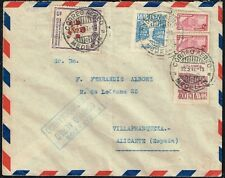 863 COLOMBIA TO SPAIN AIR MAIL COVER 1947 MAIL POSTMARK MEDELLIN-VILLAFRANQUEZA