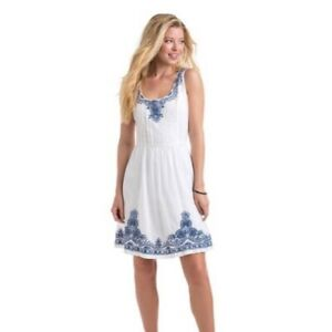 Vineyard Vines Dress Women Size 8 White Blue Embroidered Fit Flare Sleeveless