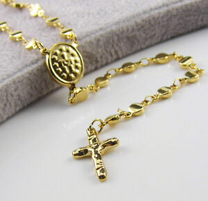 Love Heart Chain Stainless Steel Gold Jesus Rosary Cross Pendant Necklace Women