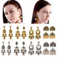 New Gold Silver Ethnic Bali Jhumka Jhumki Brocade Crystals Gypsy Dangle Earrings