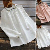 100% coton Femme Chemise Manche Longue Broderie Floral Bouton arrière Shirt Plus
