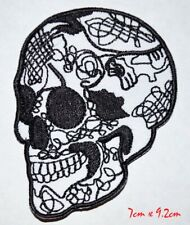 Skull Head Tattoo Biker Horror Goth Punk Embroidered Iron on Sew on Patch #30