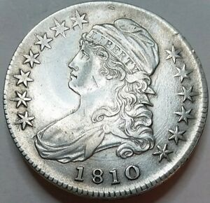 1810 Capped Bust Half Dollar, Historic Era Half Almost Uncirculated, Affordable