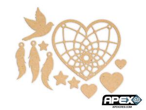 Make Your Own Dreamcatcher Kit! Hearts, Dove & Stars Wood Craft LYR-DREAM-0010-m