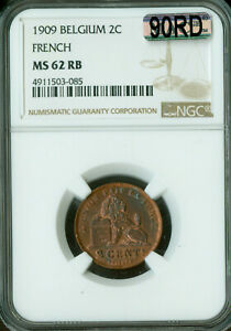 1909 BELGIUM FRENCH CENTS NGC MAC MS-62 RB 90RD 90% RED RARE .