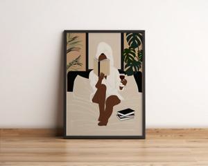 Black Woman Enjoy Reading Book & Drinking Wine  Afro Boho Minimalist Art Poster