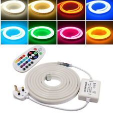 220V 2835 RGB Neon Flex LED Strip Light Ribbon Silicone Tube Waterproof Lighting