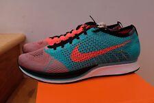 2014 Nike Flyknit Racer Jade Hyper Punch White Black size 13