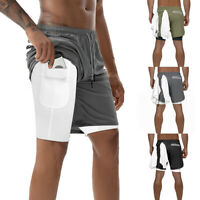 2 in 1 Sports Mens Gym Running Shorts Breathable Fitness Bottoms With Pockets D/