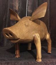 24cm x 17cm Wooden Pig Handcrafted from bamboo, Fairtrade Product