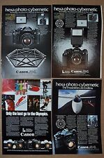 1978-81 CANON Camera advertisements x4, AE-1 A-1 F-1 AV-1 1980 Olympics, glider