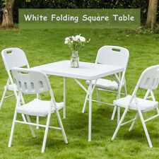 2.8' White Folding Square Plastic Dining Table 4 Metal Legs for Indoor Outdoor