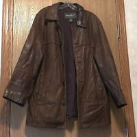 Eddie Bauer Leather Parka Jacket Mens Size Medium Brown Nicely Worn E1200
