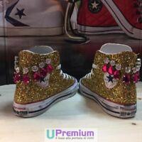 Converse All Star Glitter Oro [Prodotto Personalizzato] Scarpe Borchiate ORIGINA