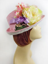 PINK SUADE LOOK FEDORA W/ PINK FLOWERS RIBBON LADIES OF SOCIETY OR DERBY DAY