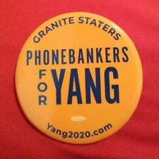 Andrew Yang Granite Staters Phonebankers For Yang button Rare 2020 Candidate