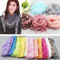 Fashion Women Sheer Long Scarf Wrap Ladies Shawl Girls Large Lace Silk Scarves