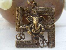 Lord Ganesh Ganesha OM Hinduism Brass pendant Amulet Elephant
