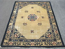 Antique Chinese Peking rug beige & blue worn Shou Design 8ft9inx11ft5in #7937