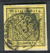 WURTTEMBERG; 1851 early classic Imperf issue 3k. used fine POSTMARK PIECE