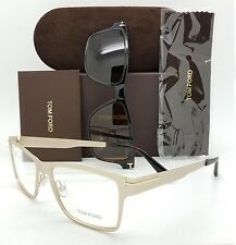 NEW Tom Ford RX Frame Gold FT5475 32E 54mm AUTHENTIC Clip On Brown Sunglasses