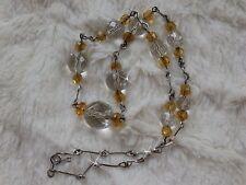 Vintage Handmade Sterling Silver & Glass Crystal Necklace