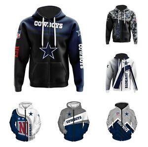Dallas Cowboys Hoodie Full Zip Sweatshirt Casual Hooded Casual Jacket Fans Gift