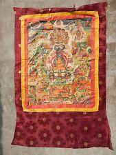 Antiguo Raro 18thC tibetano pintado a mano escena Budista Tangka en Tela