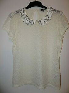 M&S Cream Lace Blouse Size Uk 16 Worn Once