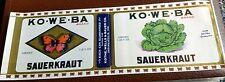 KO-WE-BA Sauerkraut CAN LABEL Indianapolis Indiana rare file Copy KOTHE WELLS