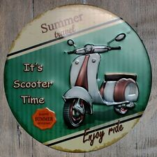 Metal Tin Sign round summer moto travel decor Bar Pub Retro Poster 30cm diameter
