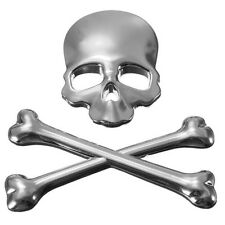 3D Skull Metal Car Sticker Auto Motor Skeleton Crossbones Label Silver O4W1