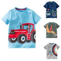 Toddler Kids Baby Boys Girls Summer Short Sleeve Cartoon Tops T-Shirt Blouse UK