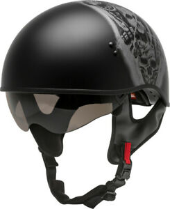 GMAX HH-65 Motorcycle Helmet Naked Tormentor Matte Black/Silver All Sizes
