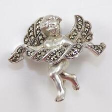 Vtg Judith Jack Sterling Silver Marcasite Guardian Angel Pin Brooch Lfe4